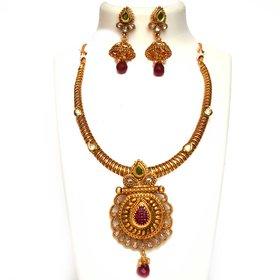 Beeline Designer Pipe Necklace, Golen spring metal neck fit torques chokers necklace in Kundan  for Women
