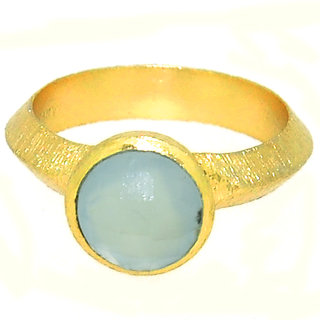 Casa De Plata Blue Aqua Chalcedony Gold Plated Ring