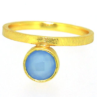 Casa De Plata Blue Chalcedony Gold Plated Ring