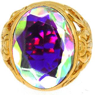Casa De Plata Purple Rainbow mystic Gold Plated Ring