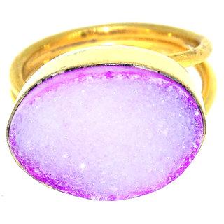 Casa De Plata Pink Druzy  Gold Plated Ring