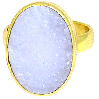 Casa De Plata White Druzy  Gold Plated Ring