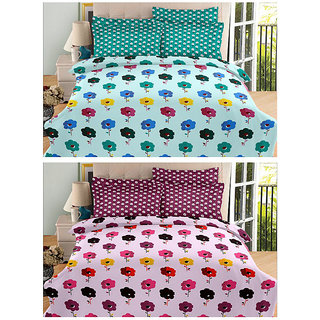Always Plus Combo Multicolor Cotton Double Bedsheets (2 Bedsheet With 4 Pillow Cover)WithTC 170