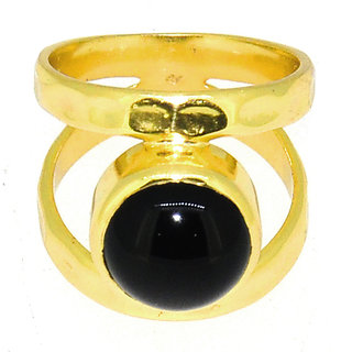 Casa De Plata Black Onyx  Gold Plated Ring