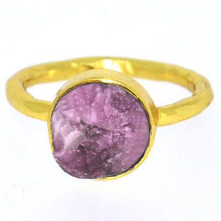 Casa De Plata  Pink Tourmaline Gold Plated Ring