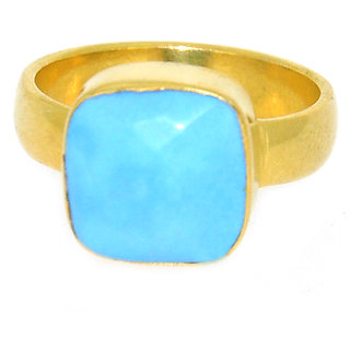 Casa De Plata Blue Turquoise Gold Plated Ring