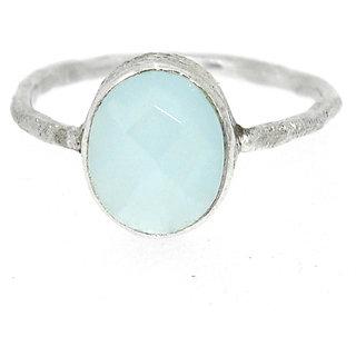 Casa De Plata Blue Aqua chalcedony Silver Plated   Ring