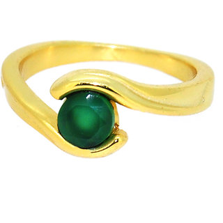 Casa De Plata Green Onyx  Gold Plated Ring