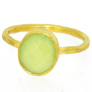 Casa De Plata Green Prehnite  Gold Plated Ring