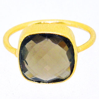 Casa De Plata Black Smoky Gold Plated Ring