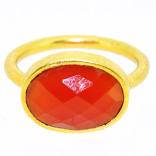 Casa De Plata Red Carnelian Gold Plated  Ring