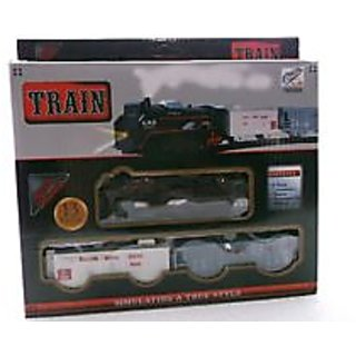 BATTERY OPERATED GOODS TRAIN TRACK SET WITH LIGHT FOR KIDS (Black TRAIN)