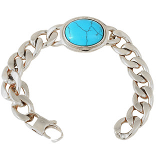 The jewelbox mens stainless steel blue turquoise bollywood salman bracelet