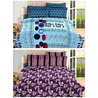 Always Plus Combo Multicolor Cotton Double Bedsheets (2 Bedsheet With 4 Pillow Cover)With TC 170