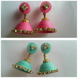 quilling pink and light green jumka 2 set of  combo earring