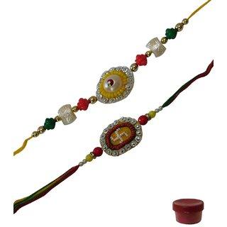 Laviva ROB12812 Eye-catching Designing Beads  Swastik Rakhi Pair