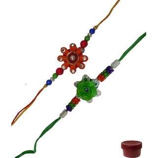 Laviva ROB12825 Glamorous Set of 2 Flower Design Fancy Rakhi