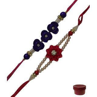 Laviva ROB12843 Amazing Set of Two Floral Designing Fancy Rakhi