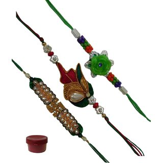 Laviva ROB12978 Choicest Set of 3 Zardosi Swastik  Fancy Floral Rakhis