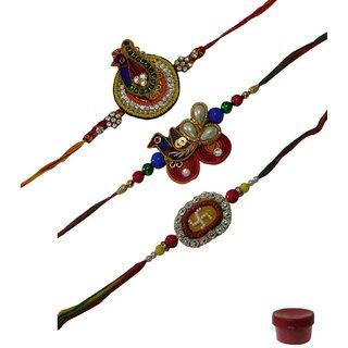 Laviva ROB12990 Blissful Set of 3 Fancy  Zardosi Rakhis