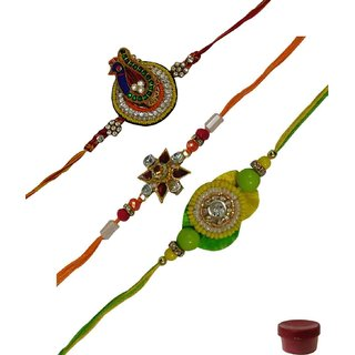 Laviva ROB12995 Mesmerizing Set of 3 Zardosi  Fancy Rakhis