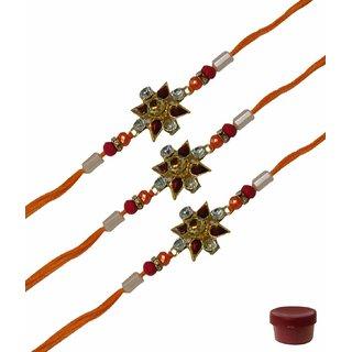 Laviva ROB13022 Gorgeous Set of Three Floral Design Fancy Rakhis