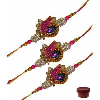 Laviva ROB13045 Colorful Zardosi Rakhi Set of Three