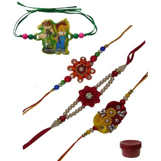 Laviva ROB13124 Scintillating Set of 4 Kids  Bhaiya Rakhis