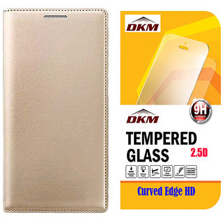 Golden Leather Flip Cover for Lenovo Vibe K5 Plus with 25D HD Tempered Glass