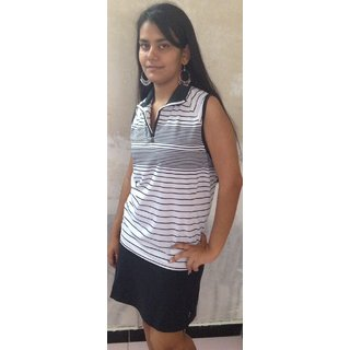LBH Lily's of Beverly Hill White designed Top/T-Shirt & Black Skirt with Pocket