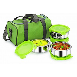 4Pc Nano 9 Lunch Box / Tiffin Insulock Fruit  Salad With Insulated Bag Ss102