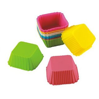 6pcs Silicone Square Shape Bakeware Cake, Muffins Tart  Cup cake Moulds