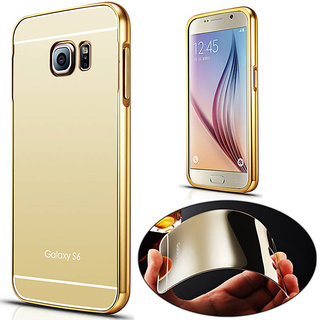 Fonixa Luxury metal bumper and Mirror back cover for Samsung Galaxy J7 Gold