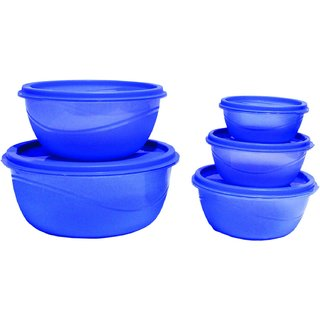Princeware Plastic Bowl Package Container, Set of 5, Blue.