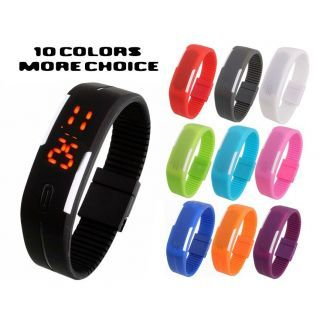 Sport LED Watches Candy Color Silicone Rubber Digital Watches Free Shipping