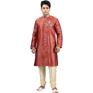 Jamai Babu Red  Dupion Silk  Embroiderd Sherwani For Men