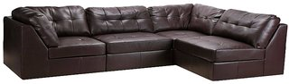 Alia Deep Comfortable Modular Leatherette Sofa In Brown Colour By Fabhomedecor(FHD236)