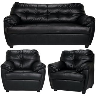 Rosabelle 5 Seater Sofa Set (3+1+1) In Black By Fabhomedecor(FHD208)