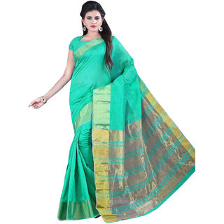 Kvsfab Green Cotton Plain Saree With Blouse