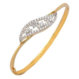 The jewelbox american diamond CZ filigree flora openable kada bangle bracelet