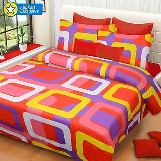 Cotton Printed Double Bedsheet(1 Bedsheet, 2 Pillow Covers, Multicolor)
