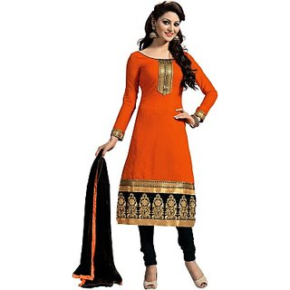 Eves Fashions Cotton Polyester Blend Self Design, Embroidered Salwar Suit Dupatta Material