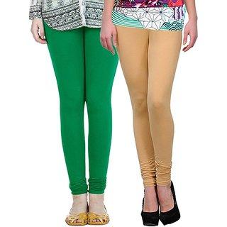 Stylobby Green and Beige Leggings For Girls Pack of 2