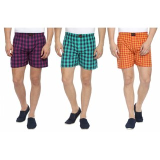 Wajbee Mens 100 Percent Cotton Boxer Shorts (Pack of 3)