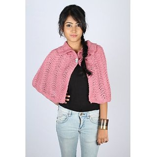 Fashionable Pink Woolen Cape For Girls