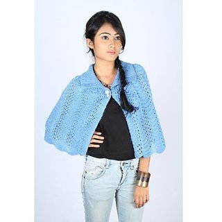 Fashionable Blue Woolen Cape For Girls