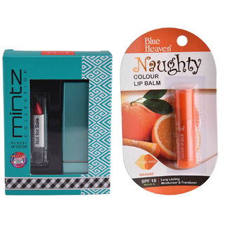 Mintz Glossy Lipstick (Rose Blossom)  Naughty Color Lip Balm (Orange)