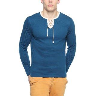 Mens Cotton - Rope Neck T-shirt - Full Sleeve - Indigo