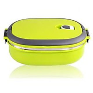 Single Layers Stainless Steel Lunch Box with handle - Green