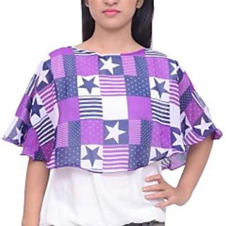 Casual kimono Sleeve Printed Womens Multicolor Top